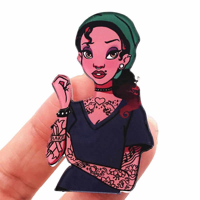 1 個タトゥーティアナオーロラ姫アイコンバッジアクリルファッション女性ブローチピン服スカーフのための装飾