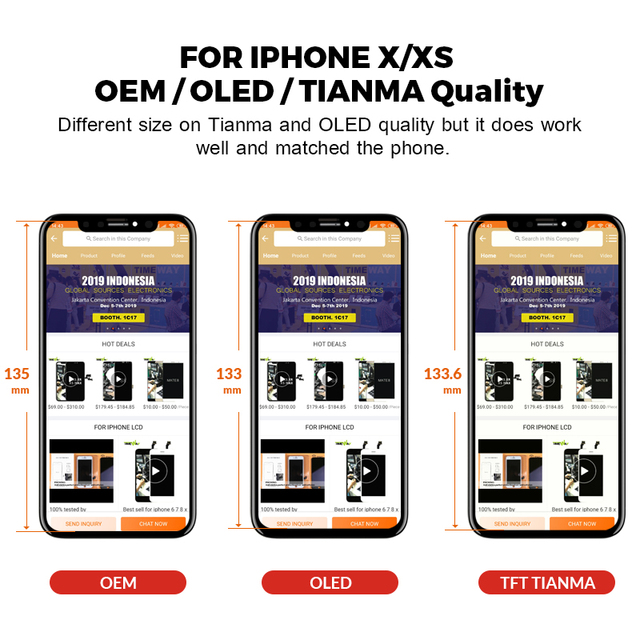 For iphone XS Max LCD Display For Tianma OLED OEM Mobile Phone Screen Digitizer For iphone LCD Assembly Black With Tools