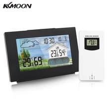 KKMOON – Station météo sans fil avec écran tactile, thermomètre et hygromètre à chargement USB, avec capteur, pour l'extérieur et l'intérieur