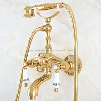 Bathtub Faucets Luxury Gold Color Brass Shower Faucet Set Ceramic Handle Handheld Rain Shower Head Faucet Mixer Tap Nna819