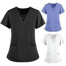 Scrub donna manica corta scollo a v tinta unita top infermiera infermiera uniforme medico para mujer t-shirt camicetta infirmièrese q5