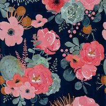 Flower Peel And Stick Modern Floral Wallpaper Pink/Green/Navy Blue/Orange Vinyl Self Adhesive  Contact Paper Bedroom Decorative