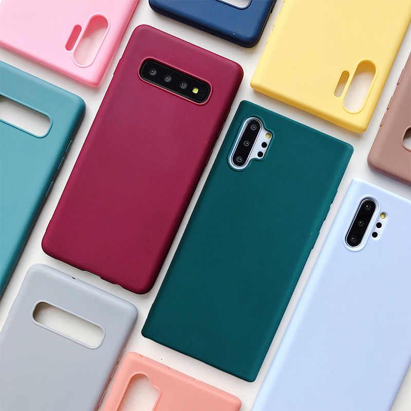 ซิลิโคนโทรศัพท์กรณีสำหรับ Samsung Galaxy Note 10 9 8 S10 S10E S9 S8 S20 PLUS E กาแล็กซี่ Matte Soft TPU ปกหลังกรณี