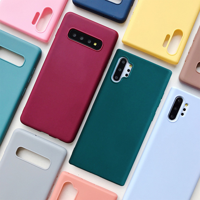 candy color silicone phone case for samsung galaxy note 10 9 8 s10 s10e s9 s8 s20 plus e galaxi matte soft tpu back cover cases 1