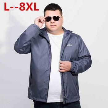 Plus size 10XL 8XL 6XL 5XL softshell waterproof jacket coat men brand-clothing hooded black casual spring coat male windbreaker