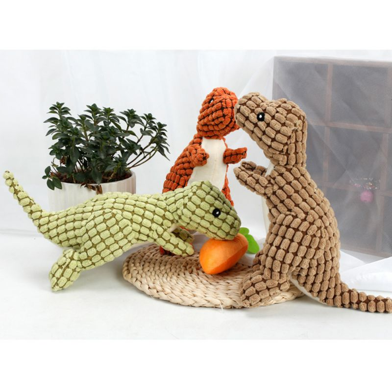 Cute Plush Toy 25cm Bite Resistant Dog Chew Toys For Small Large Dogs Dinosaur Shaped Puppy Pet Chew Squeaking Toy Pet Supplies in Dog Toys from Home Garden