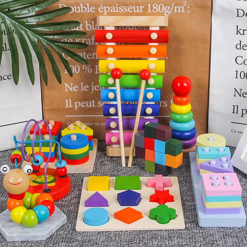 Wooden Toys Gift Packs Bead-stringing Toy Beaded Bracelet Knock Piano Rainbow Tower Early Childhood Educational Toy Combo