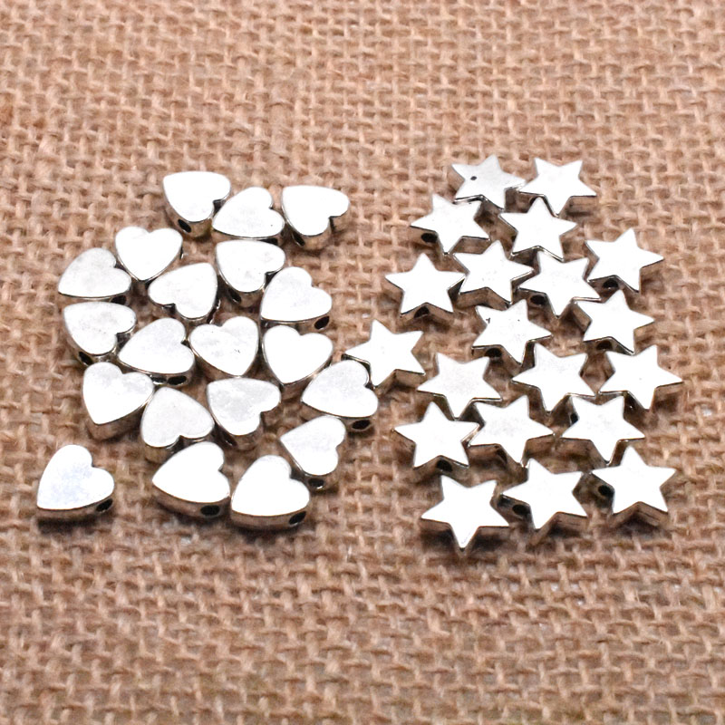 Yanqi 50pcs 6/8mm Tibetan Antique Silver Metal Alloy Five-pointed Star Heart Beads Loose Spacer Beads For Jewelry Making DIY