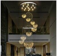 Moderno led lustre luminária de cristal lustres luz base aço inoxidável d80cm h200cm gu10 led iluminação para casa luminaria
