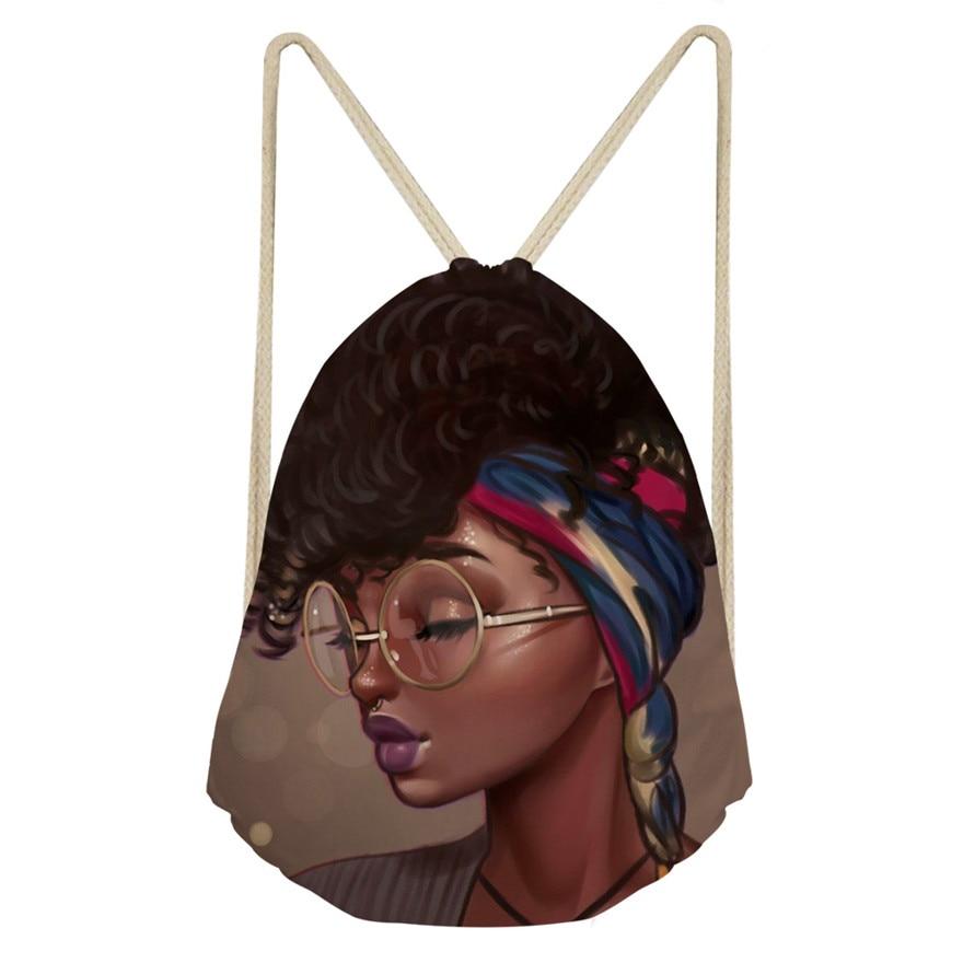 Cusotm Print Shoulder Bags For Women Black Art African Girls Printed Drawstring Bagpack Children Mini Book Bags Female Beach Bag