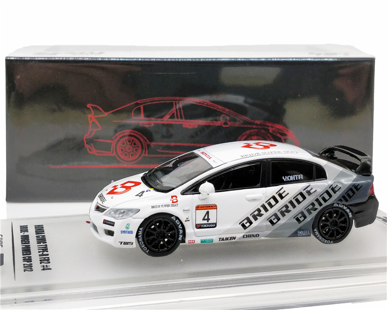 1:64 INNO64 Honda Civic Type R FD2 #4 BRIDE MUGEN POWER CUP 2012 Diecast Model Car