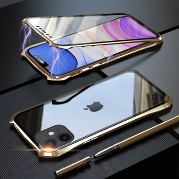 360 Full Protective Case For iphone 11 case Metal Magnetic Adsorption For iphone 11 pro max 2019 New Cases Cover Bumper Coque - For iPhone 11Pro Max, Gold 360
