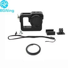 Boîtier de protection CNC coque de protection avec capuchon dobjectif et objectif UV 37mm pour Gopro 2 /3 / 3 + / 4 pour caméra de sport EKEN