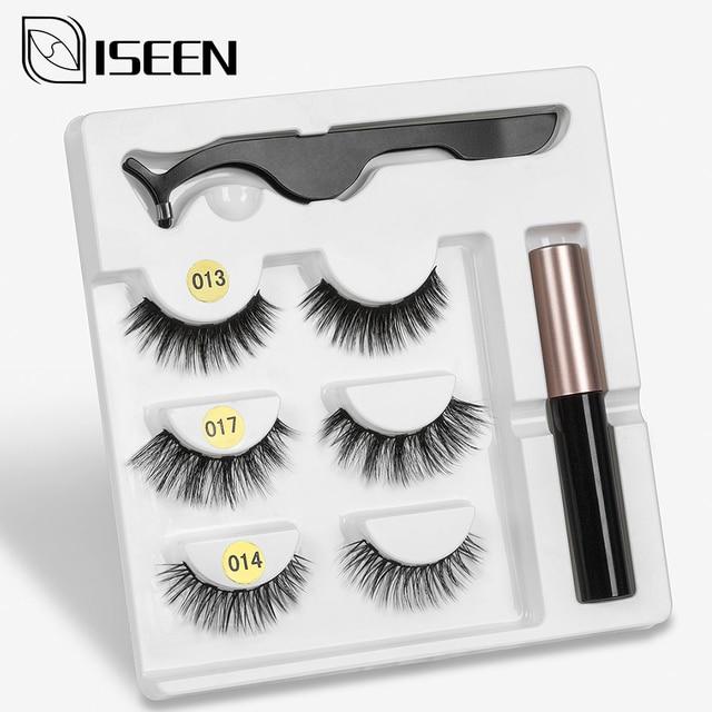 Magnetic Eyelashes 3D Mink Fake Eyelash Magnet Eyeliner Mink Fake Eyelash Waterproof Liquid Tweezers Set Long Lasting Eyelash 2