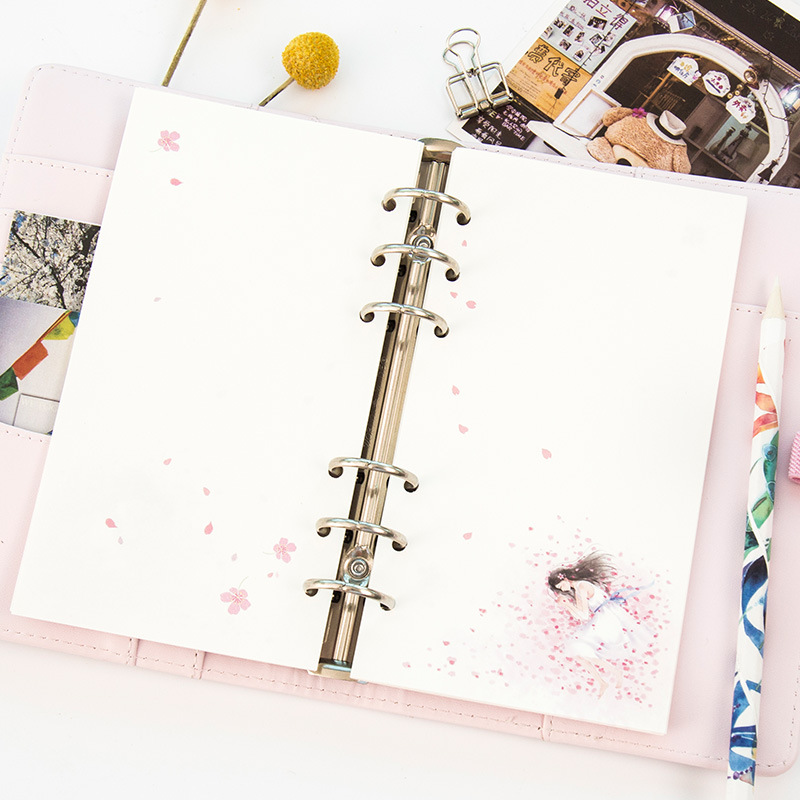 Купить с кэшбэком A6 A5 Colorful Refills Spiral Colorful Cherry Blossoms Notebook Inner Pages 6holes Planner Filler Paper Gift Creative Stationery