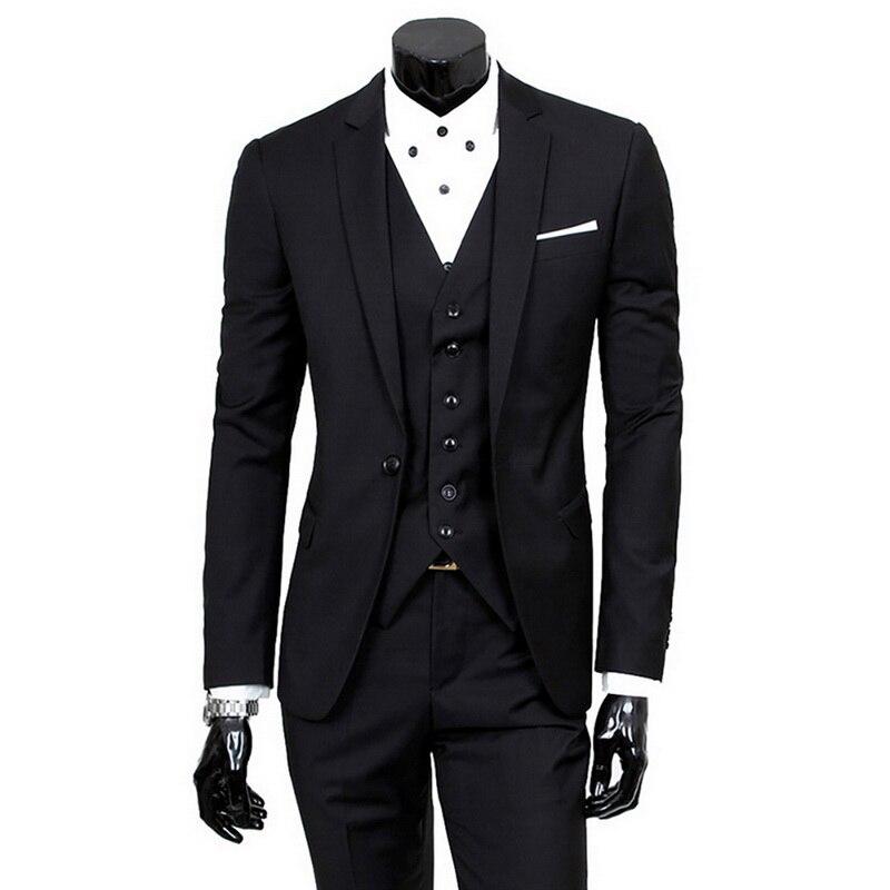 (Jacket+Pant+Vest) Slim Suit Male Spring Autumn Thin Section High-end Business Suit 2019 Jacket Pants Suits Wedding Men Blazers