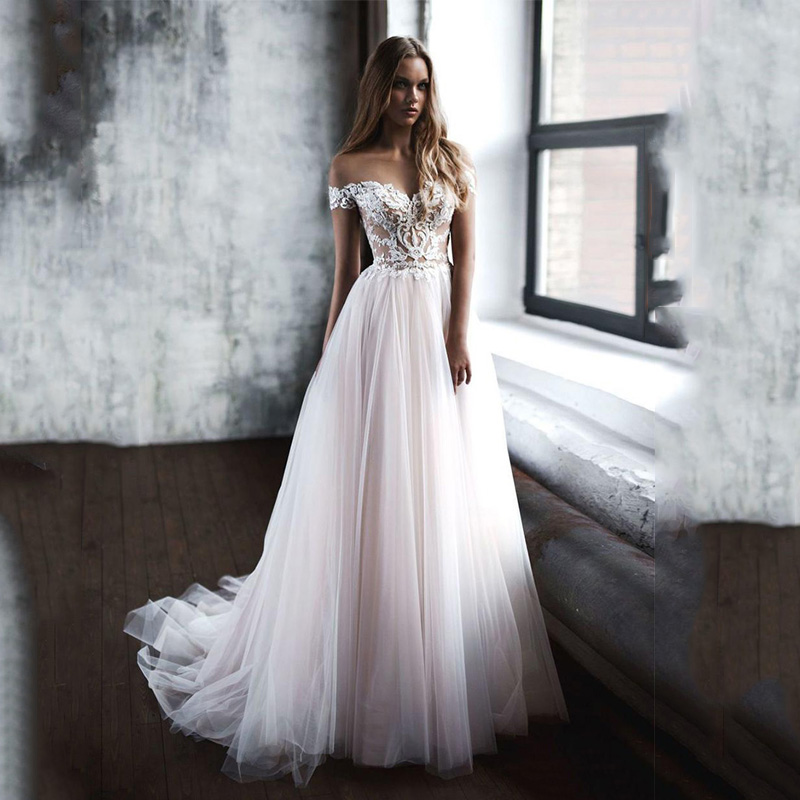 Smileven A Line Wedding Dresses 2019 Nude Top Lace Boho Bride Gowns Robe De Mariee Wedding Gowns Custom Made