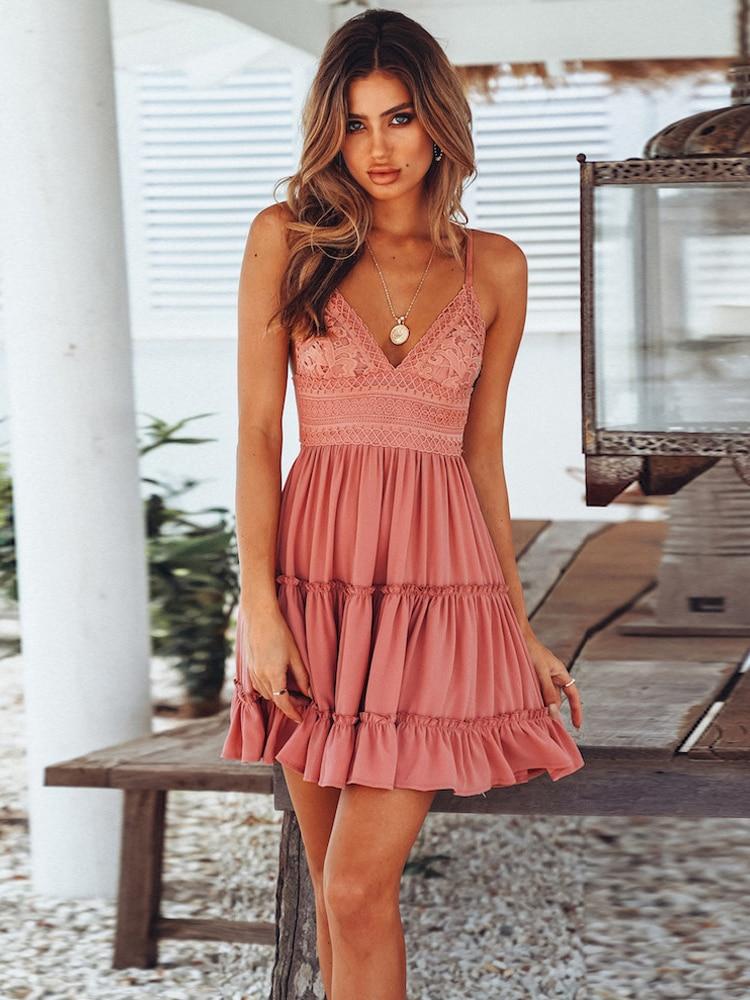 Mini Dresses Strappy Pink Black White Sexy V-Neck Yellow Boho Summer Beach Ladies Female
