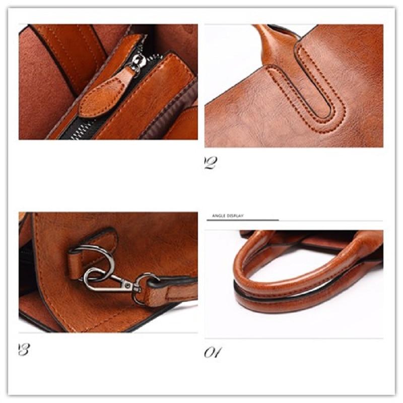 Sacs à main femmes en cuir véritable sac à bandoulière pour femmes poche zippée grande capacité mode 2020 noir femmes sac à provisions - 4
