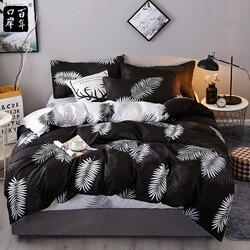 4 יח'\סט מצעים סט 19 סגנון מוצרים ביתיים אלוורה כותנה מיטת סט עלים משובץ מודרני מיטת גיליון ציפית & שמיכה כיסוי