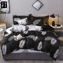 4Pcs Set Bedding Set 19 Style Household Products Aloe Cotton Bed Set Leaves Plaid Modern Bed