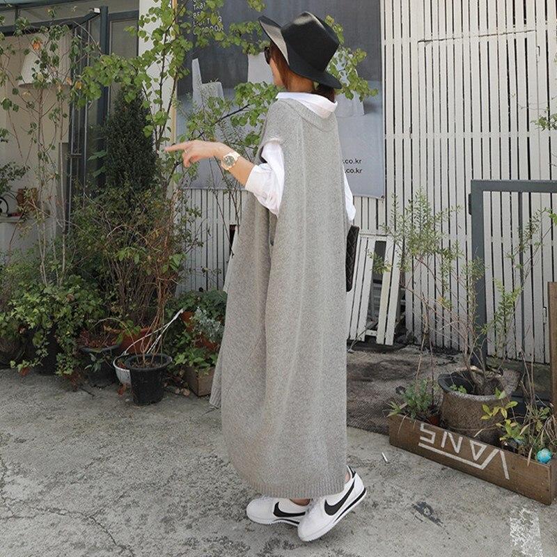 Image 4 - Ciepłe szare sukienki swetrowe damskie Oversize bez rękawów Casual luźny, dzianinowy strój damski odzież do pracy biurowej długa sukienka Longue w Suknie od Odzież damska na