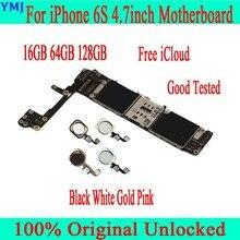 Completo desbloqueado para iphone 6 s 6 s placa mãe com/sem toque id, original para iphone 6 s mainboard com chips completos, 16gb 64g 128g