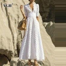 VGH zarif beyaz Maxi elbise kadınlar V boyun yarım kollu yüksek bel Hollow Out ince elbiseler kadın 2020 sonbahar yeni stil moda