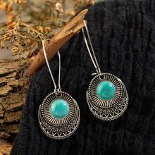Reto vintage étnico antigo bronze redondo pendurado brincos brincos gota ornamentos de orelha para feminino acessórios de festa de casamento