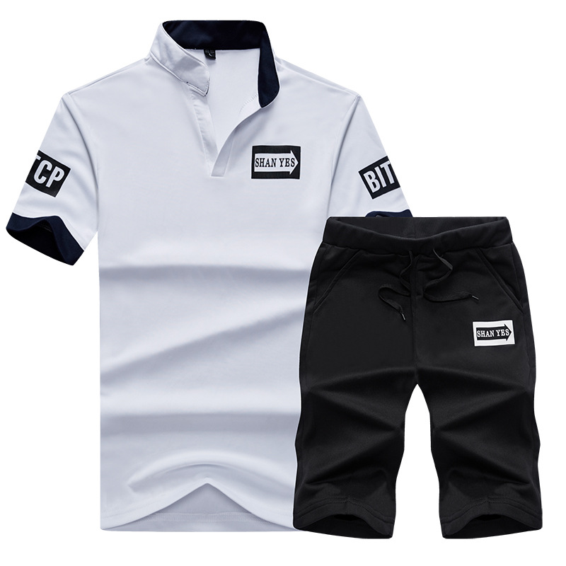 2019 Summer New Style Korean-style Men's Casual Short Sleeve Set T-shirt Sports Set