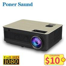 Poner Saund M5 LED Projektor Full HD 1080P 3D Android 6,0 Projetor 4500 Lumen Projektor HDMI USB WiFi Proyector bluetooth