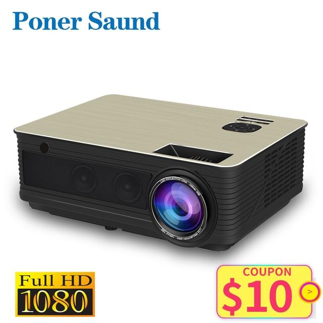 Poner Saund M5 LED projektör Full HD 1080P 3D Android 6.0 projektör 4500 lümen projektör HDMI USB WiFi Proyector Bluetooth