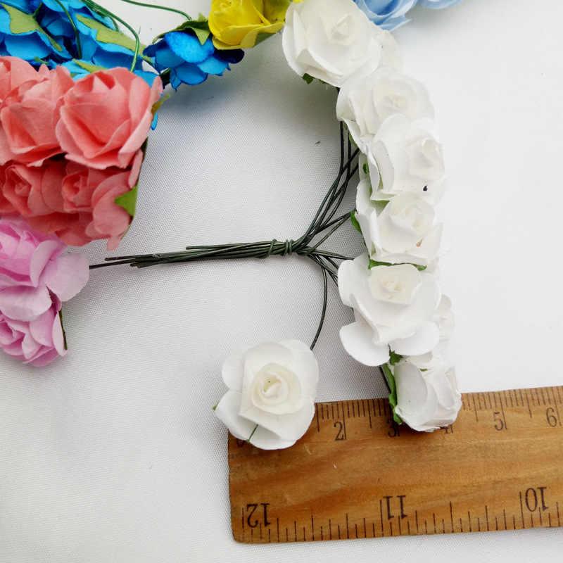 144 قطعة ورقة صغيرة الورود باقة الزفاف إكسسوارات ديكور منزلي wreبها بنفسك عيد الميلاد إكليل هدايا الزهور الاصطناعية ل سجل القصاصات