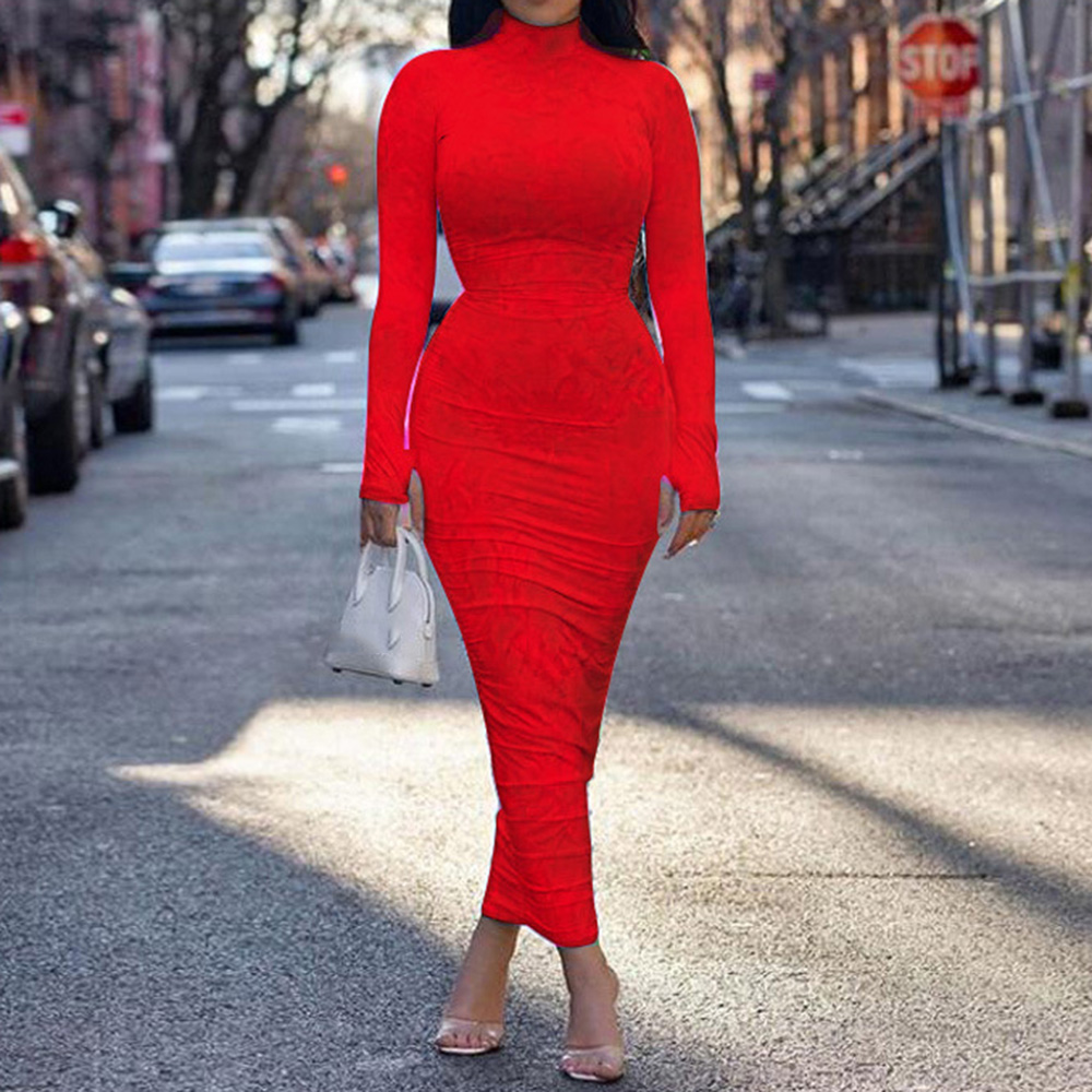 long sleeve turtleneck dress autumn winter women tight bodycon tie dye sexy night club party ruched long dresses maxi female