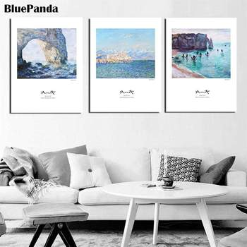 Seaside Scenery Series Nordic Style Wall Art Canvas Painting Poster Abstract Print Decorative Picture for Living Room Home Decor image