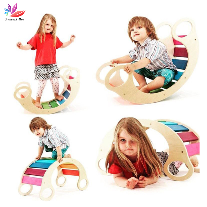 Child Balance Toy Wooden Seesaw Indoor Curved Board Baby Double Wooden Outdoor Seesaw Rocking Chair Outdoor Toys For Kids M123