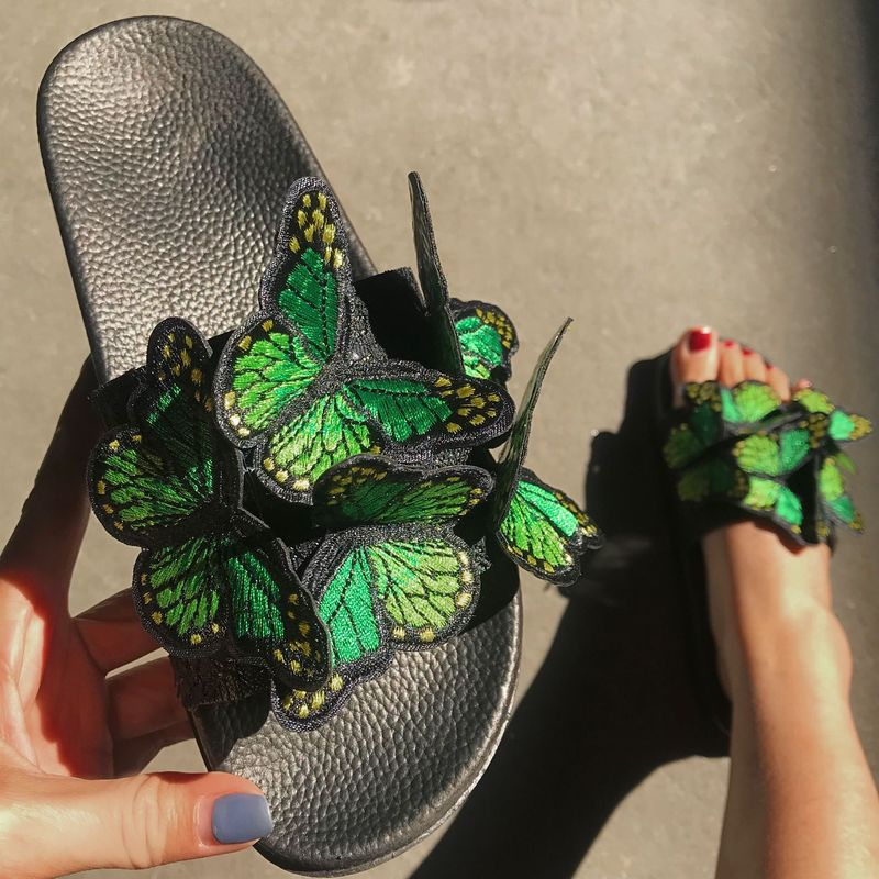 Женские босоножки; Летние вьетнамки на плоской платформе с вышивкой в виде бабочки; Повседневные шлепанцы с открытым носком; Женская обувь; Zapatos De Mujer|Тапочки|   | АлиЭкспресс