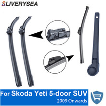 SLIVERYSEA Front and Rear Wiper Blade Arm For Skoda Yeti 2009-Present 5-door SUV High quality Natural Rubber Windscreen