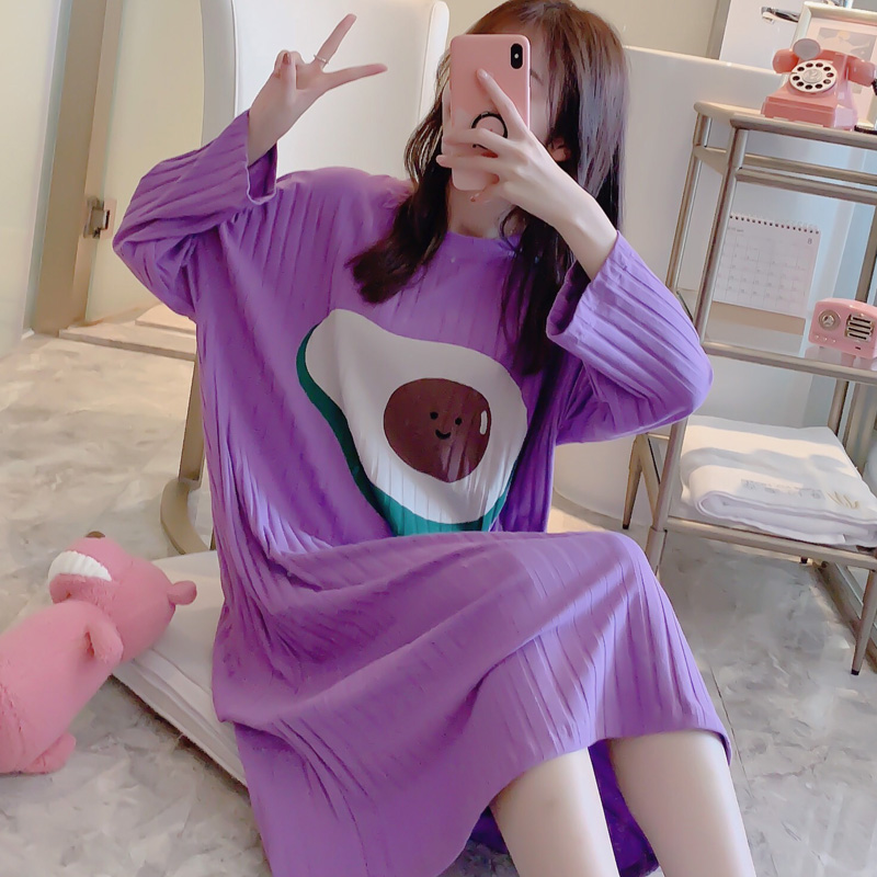 Lazy Style New Womens Nightgown Sleepwear 2020 Long Full Cotton Nightgown Home Wear Lovely Nightgowns For Women Loose Girl