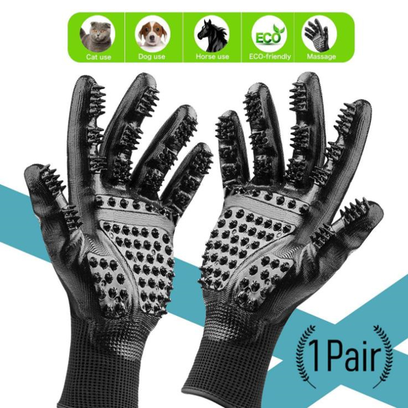 Design Pet Gloves Dog Cat Grooming Glove Fur Hair Brush Gloves Horse Comb For Pet Bath Clean Massage Hair Remover Brushes