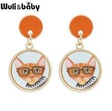 Wuli&baby Cute Cat Drop Earrings Women Glass Cat Pendant Stud Earrings Korean Style Fashion Jewelry cat design stud earrings