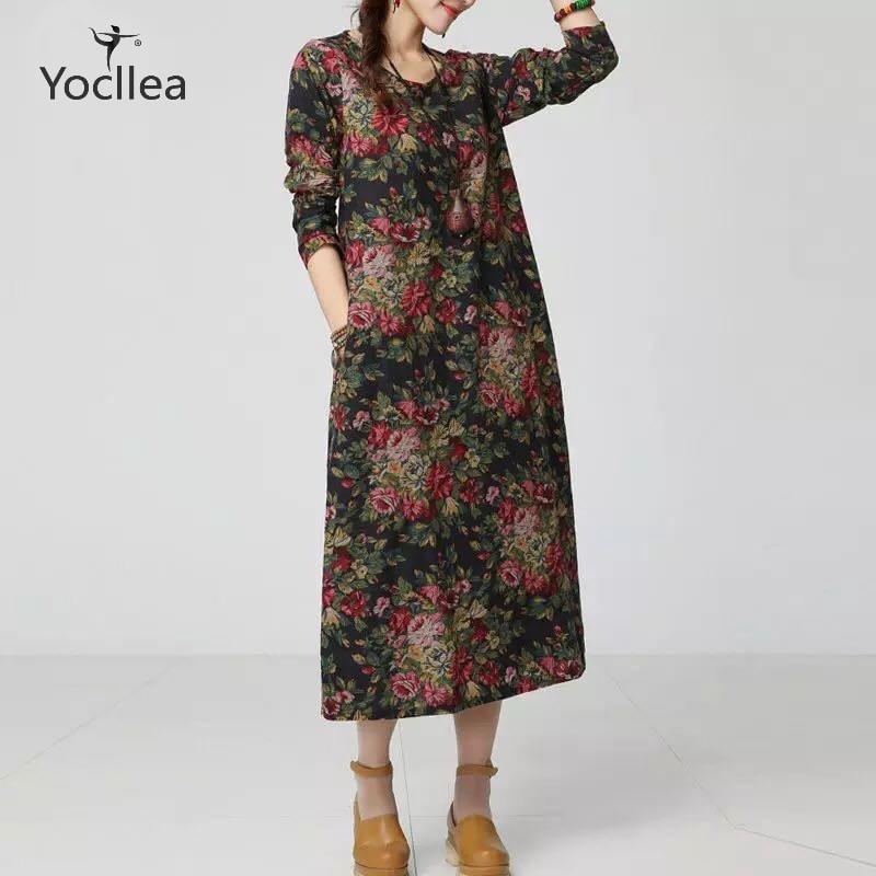 New Autumn Print Cotton Linen dress Women's Dresses