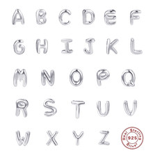 925 Sterling Silver 26 Letters Alphabet Charm Pendants for Women Man Bracelets Necklace A-Z Letter DIY Accessories Jewelry Gifts