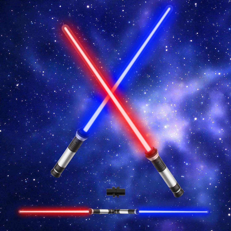 Giocattolo Spada Laser A Doppia Lama Effetti Sonori Sensibili al Movimento per Il Regalo Natale della Festa JioZoyio Spade Laser A LED 2-in-1 per Bambini 3 Confezioni 7 Colori Suono