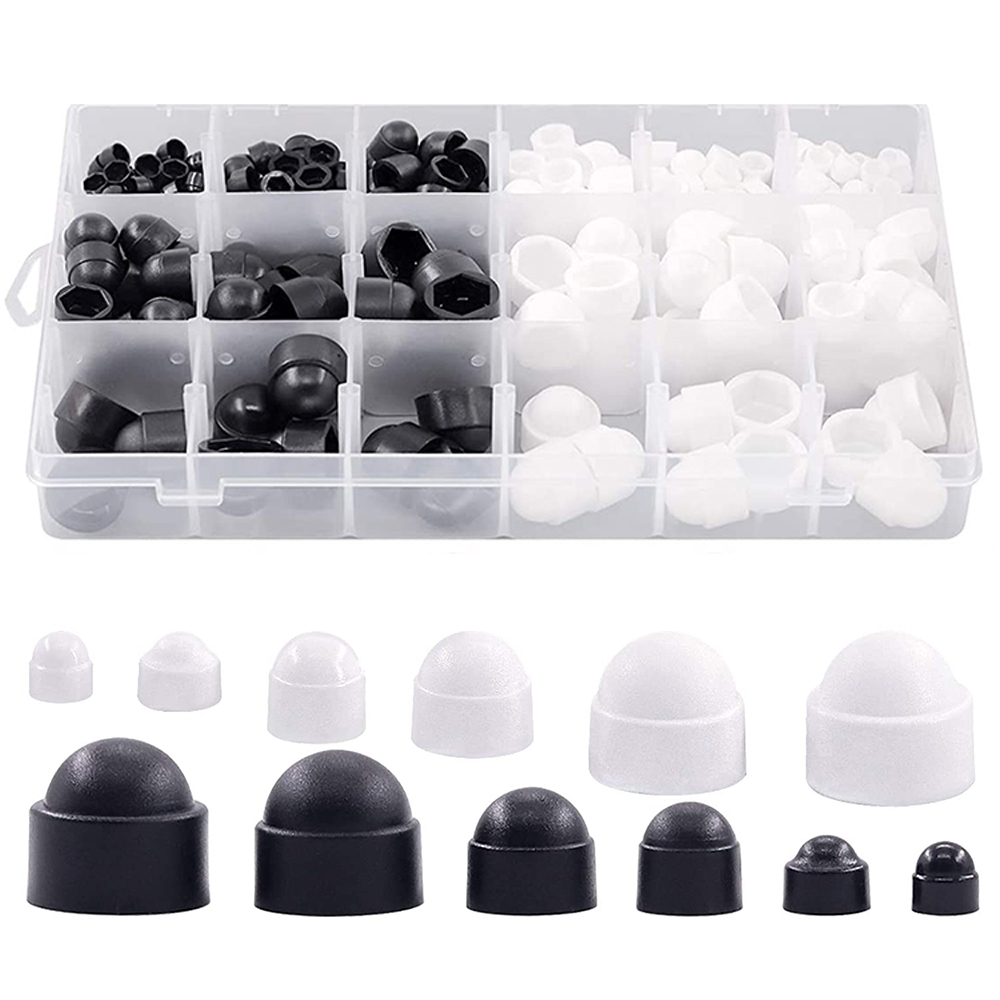 300pcs boxed plastic car wheel nut cover protection cap anti-rust car wheel screw cover black and white nut bolt exterior set