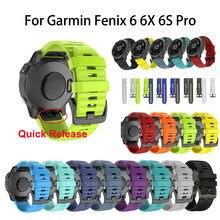 Bracelet de montre en Silicone, 26 22 20MM, pour Garmin Fenix 5 5X 5s 3 3 HR, Fenix 6S 6 6X Pro, libération rapide, Easyfit