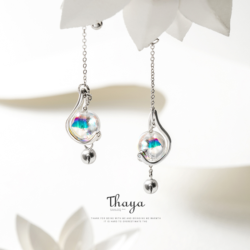 Thaya Japanese Style Earrings 925 Silver Rainbow Bubble Earrings For Girls Special Fine Jewelry(China)