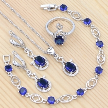 925 Sterling Silver Bridal Jewelry Set Sapphire Ring Earrings Bracelet Necklace Pendant for Women Party Accessories