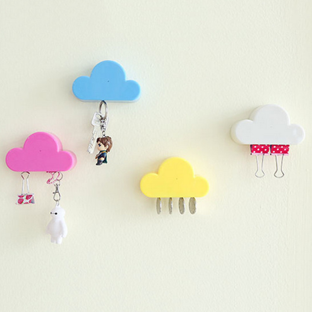 Pink/Yellow Cloud Shape Magnetic Magnets Wall Key Holder Keys Securely Cloud magnet keychain key storage device(China)