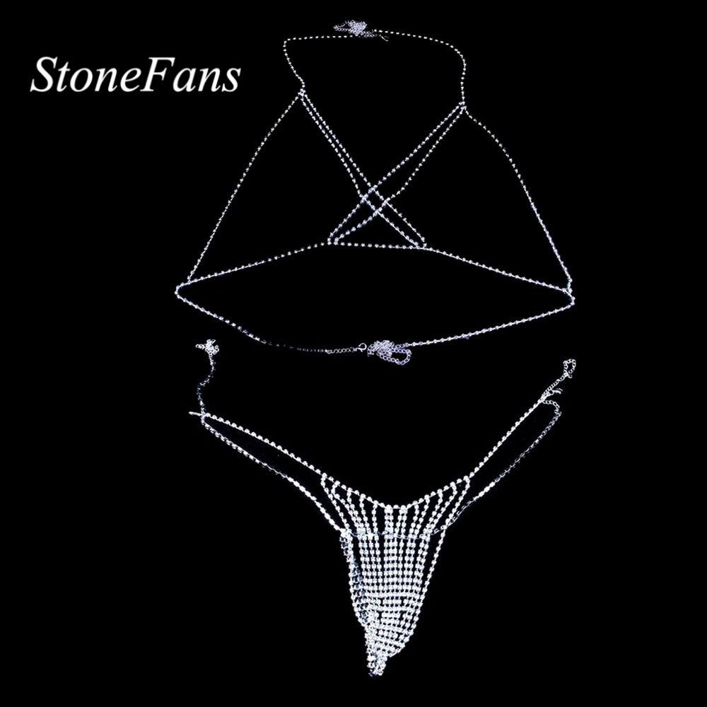 Stonefans Sexy Bikini Body Chain Crystal Underwear Jewelry for Women Cross Rhinestone Body Lingerie Bra Jewelry Valentine Gift